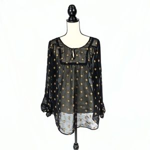 Lucky Brand|Live in Love| Sheer Black Tunic 2X